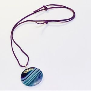 Purple Teal Mint Green Banded Agate Necklace